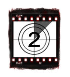 Film countdown at No 2. Illustration of film countdown on white background Royalty Free Stock Photo