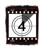 Film countdown at No 4. Illustration of film countdown on white background Stock Images