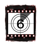 Film countdown at No 6. Illustration of film countdown on white background Royalty Free Stock Images