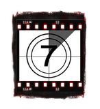 Film countdown at No 7. Illustration of film countdown on white background Stock Photography