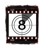 Film countdown at No 8. Illustration of film countdown on white background Royalty Free Stock Photo