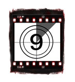 Film countdown at No 9. Film countdown illustration on white background Royalty Free Stock Images