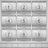 Film countdown numbers. Art set. Vector Illustration Stock Photos