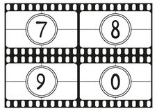 Film countdown numbers, hand drawing digits, vector illustration part 3 Stock Photos
