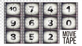 Movie Tape Countdown Vector. Monochrome Brown Grunge Film Strip. From Ten To Zero. Isolated On Transparent Background. Film Countdown Numbers 10 - 0 Vector Royalty Free Stock Image