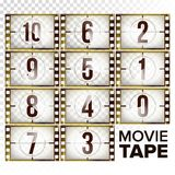 Film Countdown Numbers 10 - 0 Vector. Monochrome Brown Grunge Film Strip. Elements Of Cinema. Start Of The Retro Film. Film Countdown Numbers 10 - 0 Vector Stock Images