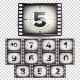 Film Countdown Numbers 10 - 0 Vector. Monochrome Brown Grunge Film Strip. Start Of The Old Film. Isolated On Transparent. Movie Tape Countdown Vector. Monochrome Royalty Free Stock Images