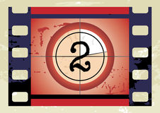 Film countdown (vector). Scratched Film Countdown at No 2 Royalty Free Stock Photos