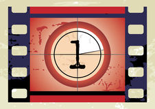 Film countdown (vector). Scratched Film Countdown at No 1 Royalty Free Stock Images