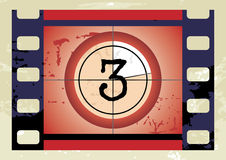 Film countdown (vector). Scratched Film Countdown at No 3 Royalty Free Stock Photo