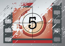 Film countdown (vector). Scratched Film Countdown at No 4 Stock Photography