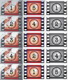 Film countdowns (vector). Grunge, black and white film countdowns (vector Royalty Free Stock Photos
