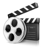 Film and cracker on white background Stock Photos