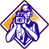 Film Crew Cameraman Camera Retro. Illustration of a film crew cameraman with video camera facing front done in retro woodcut style set inside diamond shape Royalty Free Stock Image
