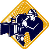 Film Crew Cameraman Shooting Filming Camera Shield. Illustration of film crew cameraman shooting filming with movie camera viewed from front set inside shield Royalty Free Stock Photo