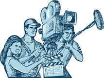 Film Crew Clapperboard Cameraman Soundman Drawing. Drawing style illustration of a film crew cameraman soundman with clapperboard, microphone, video film camera Stock Photography