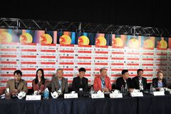 Film crew of Crested Ibis movie. Press-conference of 39th Moscow International Film Festival on the movie Crested Ibis, China. Date: June 27, 2017. Place Stock Images