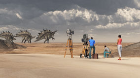 Film crew and the dinosaur Stegosaurus Royalty Free Stock Photos