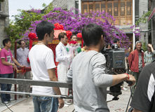 Film Crew Filming TV Show in China. The film crew films a scene on the TV show Wind Flower Snow Moon in Dali, Yunnan province, China Stock Photography