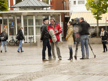 Film crew on Marketplace Aurich Stock Image