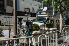 Film crew outside Trump Towers, New York Stock Photography