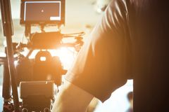Film crew production. Cinema Camera on Film Set, Behind the scenes background, film crew production royalty free stock photography