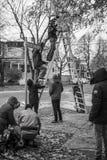 Film Crew. A film crew shooting in Nova Scotia Stock Images