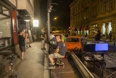 Film crew in Zagreb, Croatia. Film crew at the set of `Black and white` world TV series in Zagreb, Croatia. `Black and white` is one of the most popular Croatian stock photo