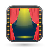 Film Curtain Spotlight Show Icon Vector Royalty Free Stock Image