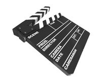 Film cut. 3d illustration of film clap isolated over white background Royalty Free Stock Photos