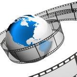 Film. 3d illustraton of Globe with film strip Stock Photo