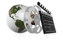 Film. 3d illustraton of Globe with film strip Royalty Free Stock Images