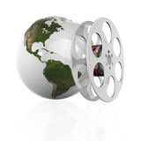 Film. 3d illustraton of Globe with film strip Stock Images
