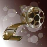 Film de bobine de film avec des étoiles concept, vecteur d'isolement sur le fond rouge Image stock