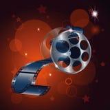 Film de bobine de film avec des étoiles, vecteur d'isolement sur le fond rouge Photographie stock