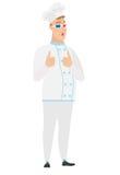 Film de observation de cuisinier caucasien de chef en verres 3D Photographie stock libre de droits