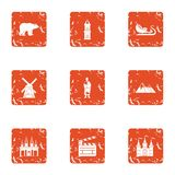 Film decoration icons set, grunge style. Film decoration icons set. Grunge set of 9 film decoration vector icons for web isolated on white background Royalty Free Stock Image