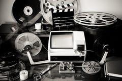 Film, der den Weinlesedesktop redigiert stockfoto
