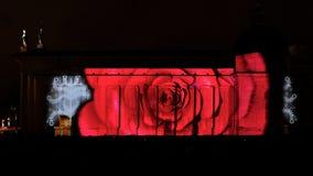 Film des Weihnachten 4D auf Kathedralewand Lizenzfreies Stockfoto