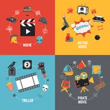 Film Design Concept. Set with action pirate movie triller flat icons isolated vector illustration Royalty Free Stock Photography