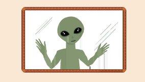 Film di animazione del fumetto di piccolo uomo straniero verde che guarda attraverso la finestra di vetro del confine del progett illustrazione di stock