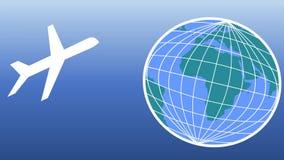 Film di aviazione con gli aerei ed il globo animato La terra degli aeroplani e parte il globo Trasporto aereo, agenzia di viaggi illustrazione di stock