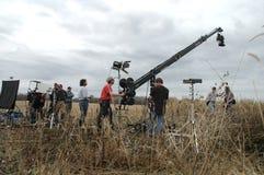 Film di makinga delle troupe cinematografica fotografia stock