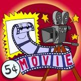 Film di parodia del fumetto e carattere felice di cinepresa Immagine Stock