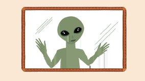 Film di sogno ondulato di animazione del fumetto di piccolo uomo straniero verde che guarda attraverso la finestra di vetro del c video d archivio
