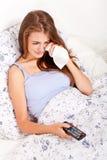 Film di sorveglianza TV della giovane donna attraente Immagini Stock