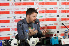Film director Albert Serra. MOSCOW - JUNE 29, 2017: Film director Albert Serra from Catalonia, Spain at press-conference of his film Death of Louis XIV shown stock photography