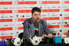 Film director Albert Serra. MOSCOW - JUNE 29, 2017: Film director Albert Serra from Catalonia, Spain at press-conference of his film Death of Louis XIV shown royalty free stock photos