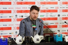 Film director Albert Serra. MOSCOW - JUNE 29, 2017: Film director Albert Serra from Catalonia, Spain at press-conference of his film Death of Louis XIV shown stock image