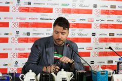 Film director Albert Serra. MOSCOW - JUNE 29, 2017: Film director Albert Serra from Catalonia, Spain at press-conference of his film Death of Louis XIV shown stock photo